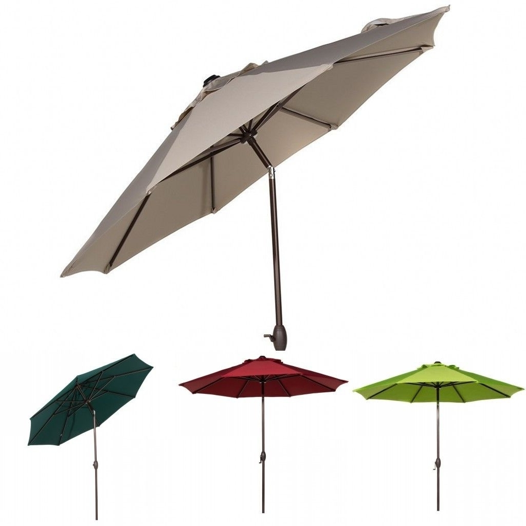 Recent 9 Ft Sunbrella Fabric Patio Umbrella Outdoor Table Umbrella W/ Auto Within Patio Umbrellas With Sunbrella Fabric (Gallery 2 of 20)