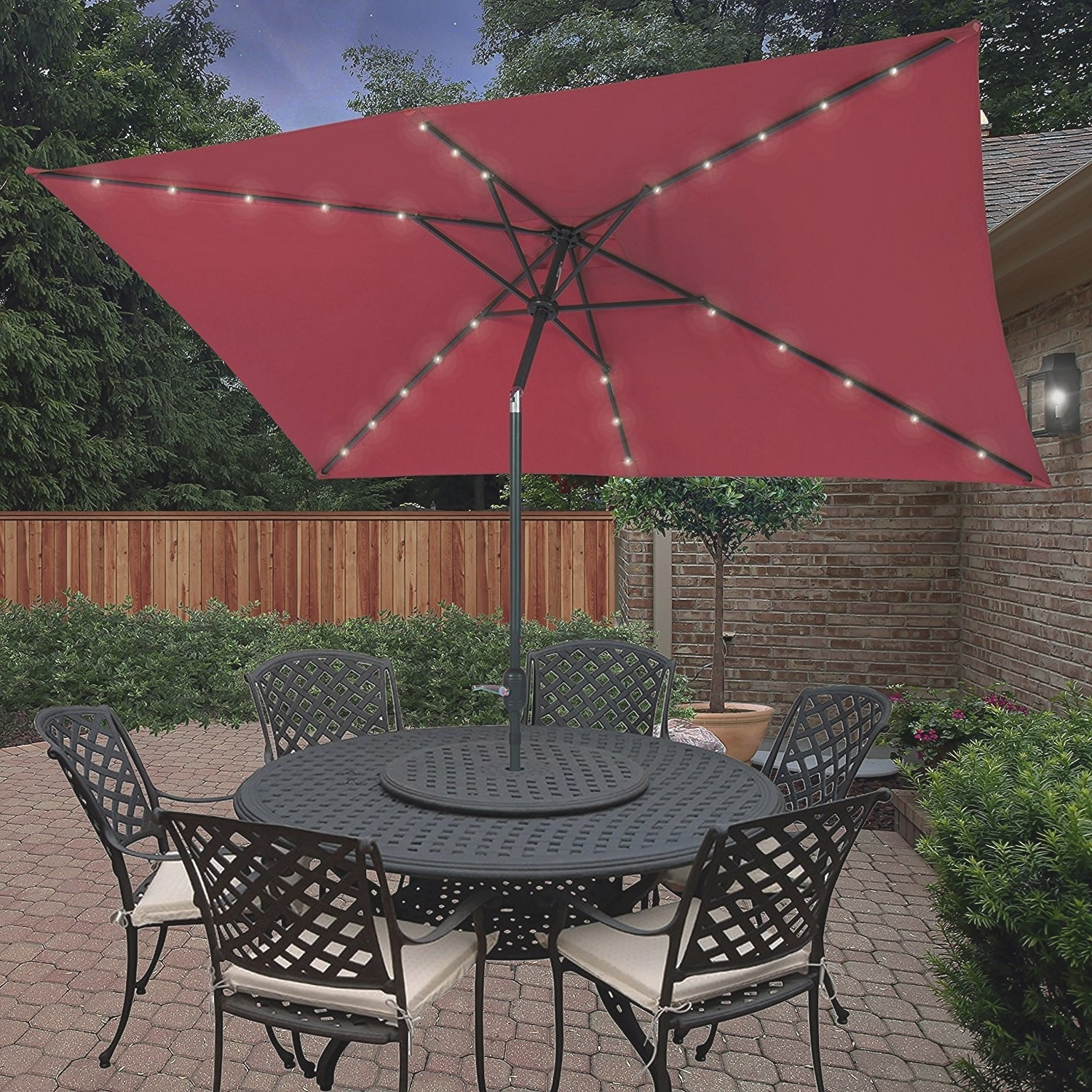 Recent Comfy Hampton Bay Patio Umbrella With Solar Lights F94X In Creative Intended For Hampton Bay Patio Umbrellas (Gallery 14 of 20)
