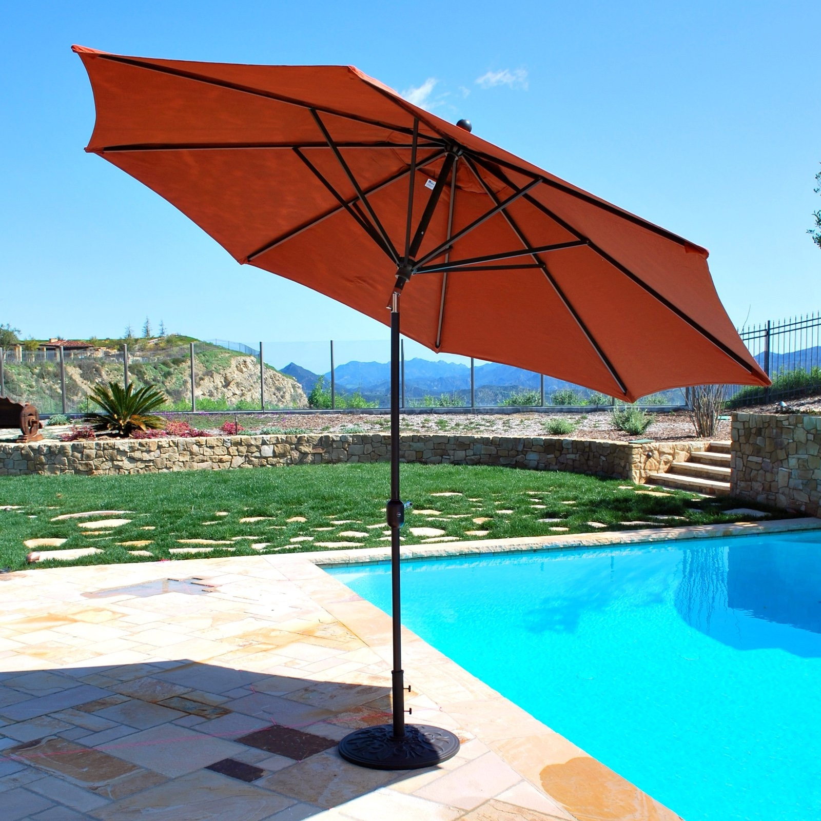Recent Galtech Sunbrella 11 Ft. Maximum Shade Deluxe Aluminum Auto Tilt Regarding 11 Ft (View 20 of 20)