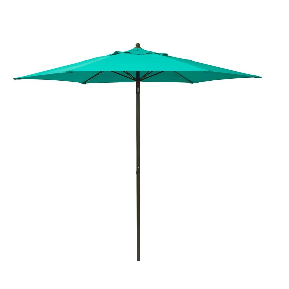 Recent Hampton Bay 7 1/2 Ft. Steel Push Up Patio Umbrella In Emerald Coast Throughout Hampton Bay Patio Umbrellas (Gallery 15 of 20)
