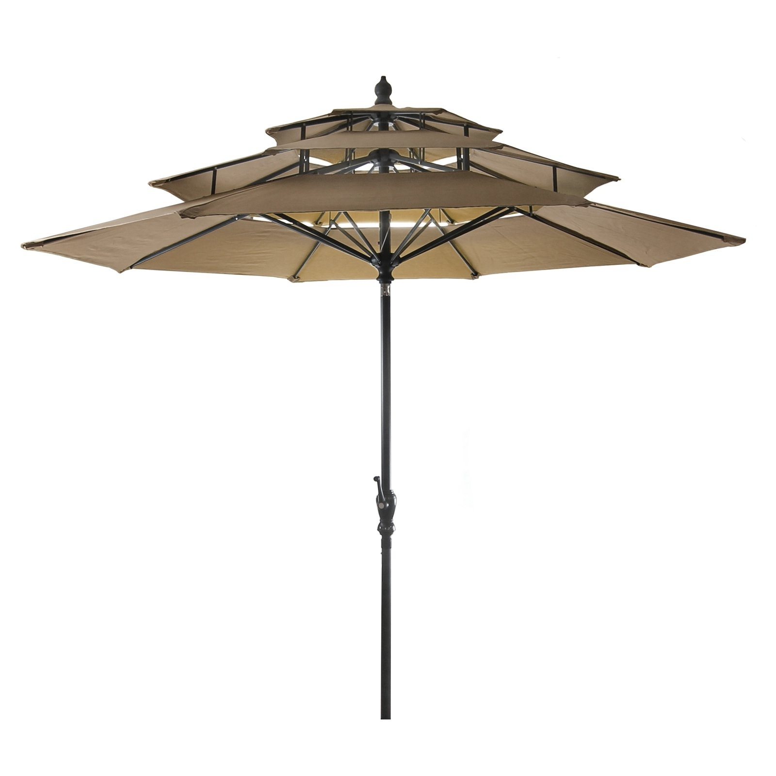 Recent Jordan Patio Umbrellas Throughout Jordan Manufacturing 9' 3 Tier Umbrella – Walmart (Gallery 8 of 20)