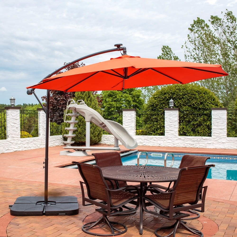 Recent Led Patio Umbrellas Pertaining To Offset Patio Umbrella With Led Lights The Terrific Real (Gallery 14 of 20)