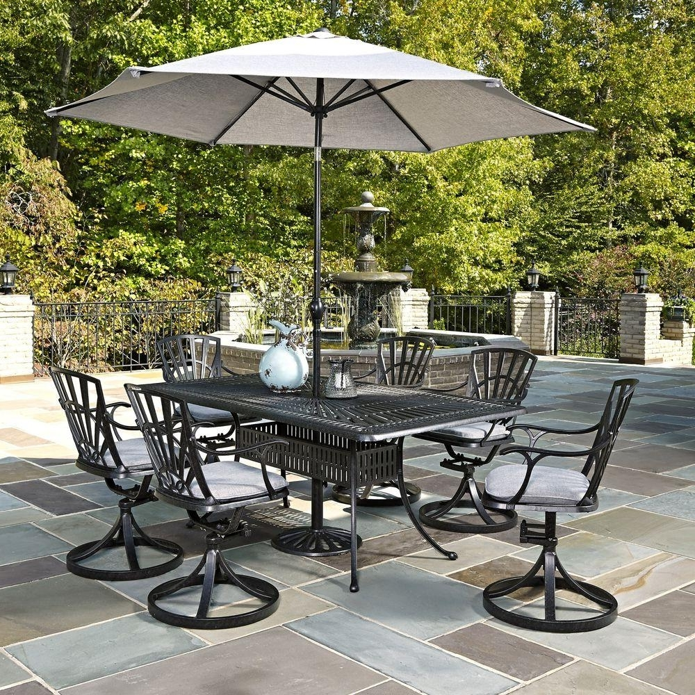 Recent Patio Table Sets With Umbrellas Regarding Home Styles Largo 7 Piece Outdoor Patio Dining Set With Umbrella And (Gallery 2 of 20)