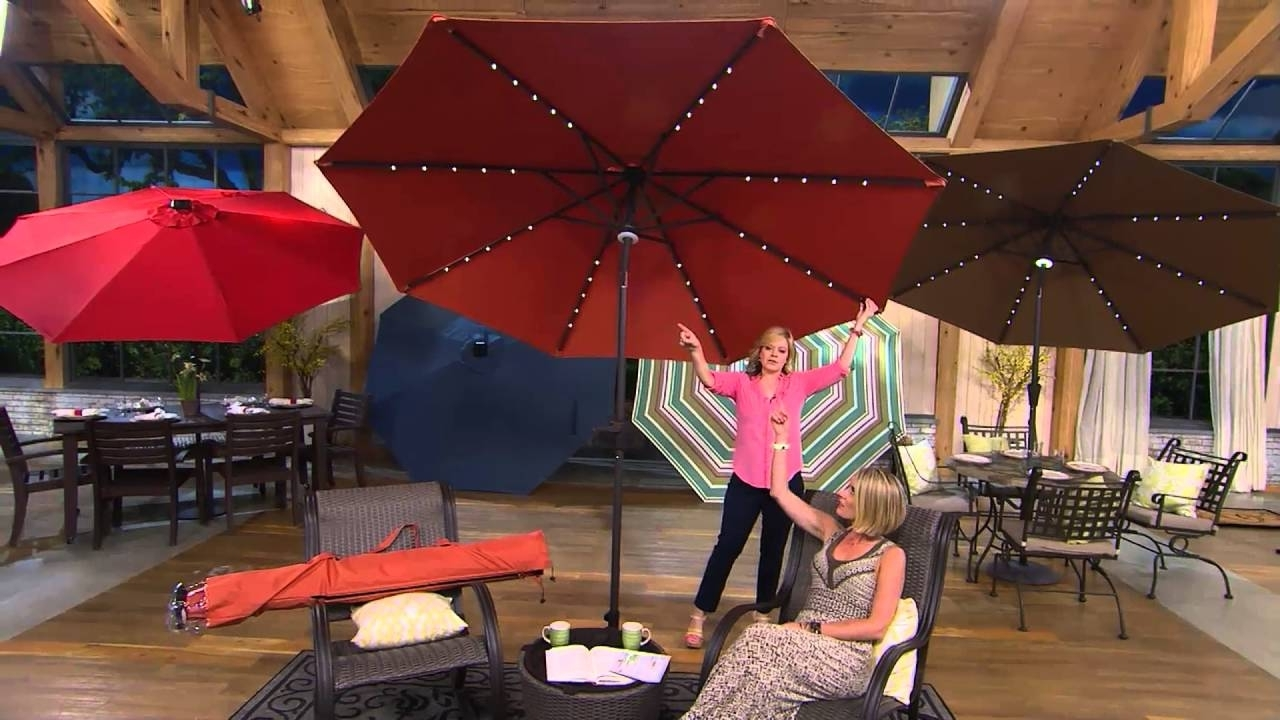 Recent Patio Umbrellas With Lights Pertaining To Atleisure 9' Turn 2 Tilt Patio Umbrella W/ 52 Solar Led Lights (View 15 of 20)