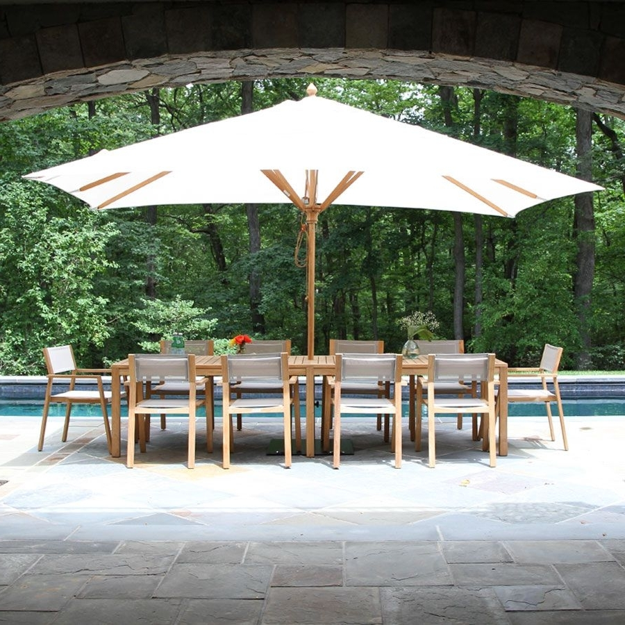 Rectangle Patio Umbrellas Within Most Recently Released Teak Patio Umbrellas – 13.5 X 8 Ft (View 8 of 20)