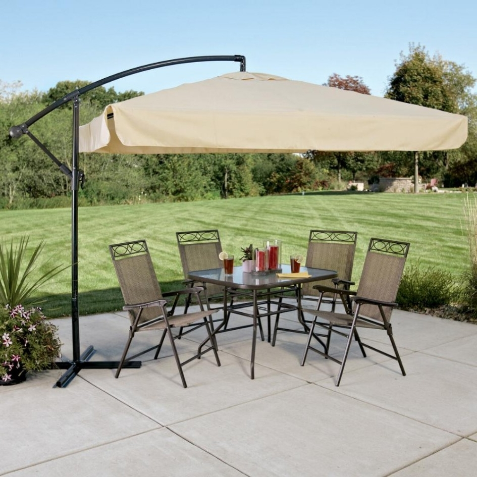 Rectangular Offset Patio Umbrellas Pertaining To Widely Used Patio: Setting Your Patio Decoration With Lowes Patio Umbrella (View 11 of 20)