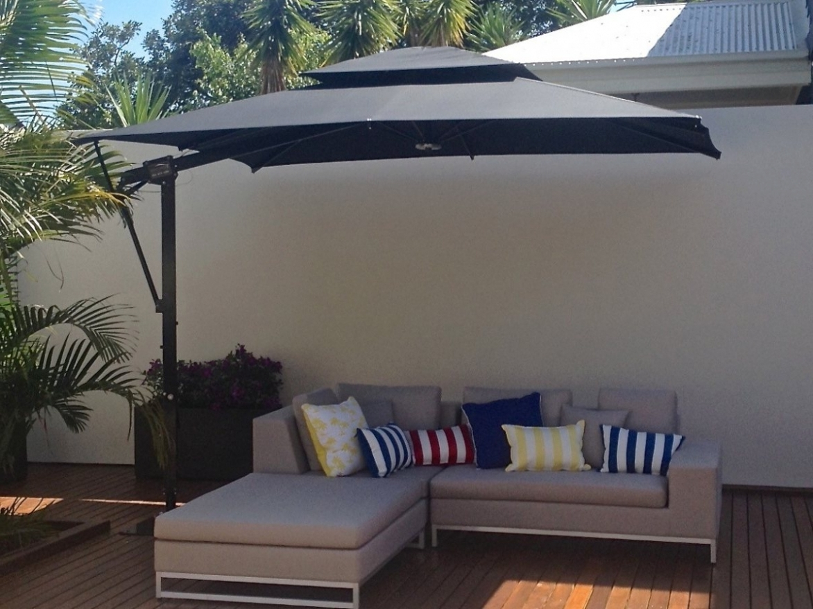 Rectangular Offset Patio Umbrellas Regarding Popular Impressive Offset Rectangular Patio Umbrella Large Umbrellas For (Gallery 4 of 20)