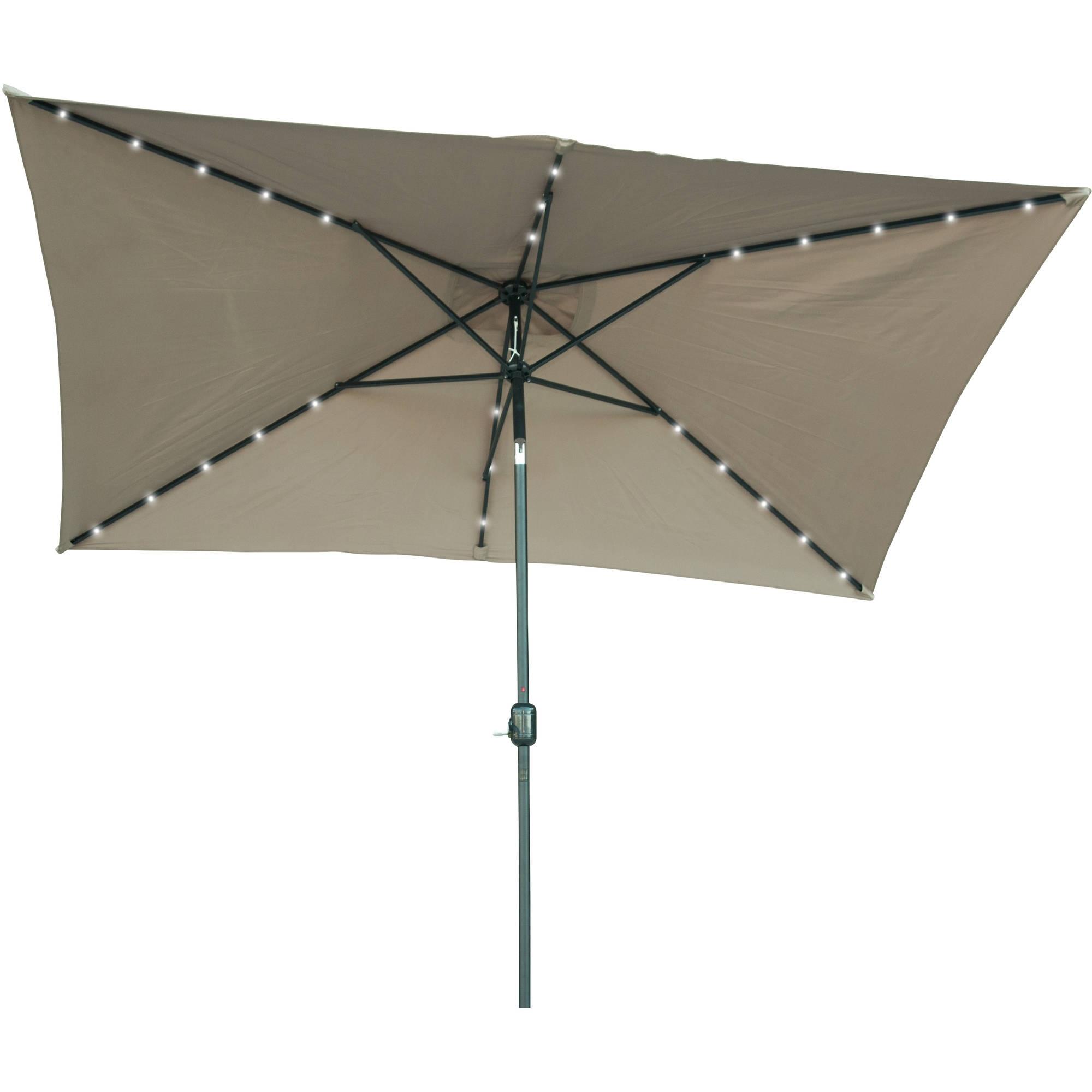 Rectangular Solar Powered Led Lighted Patio Umbrella – 10' X 6.5 Regarding Well Known Patio Umbrellas With Lights (Gallery 13 of 20)