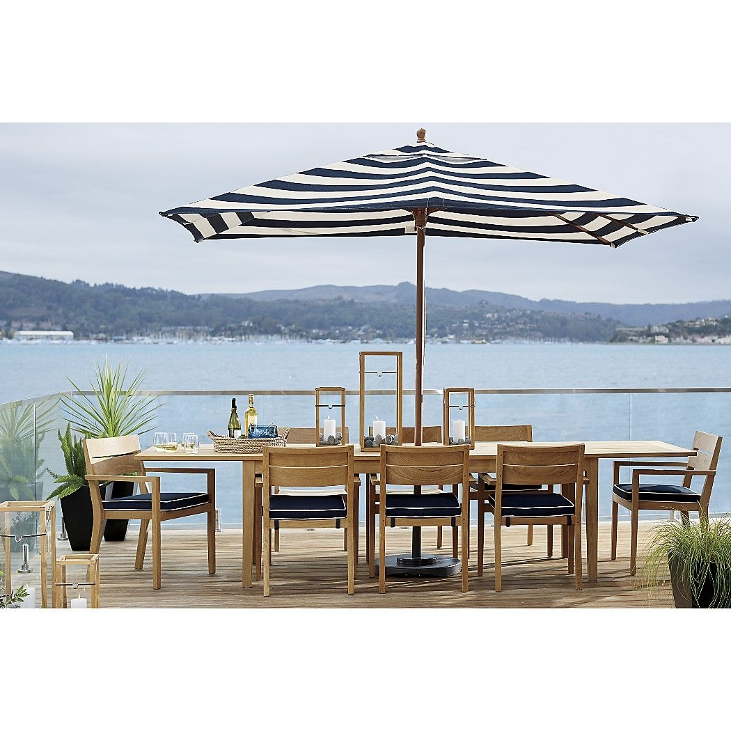 Rectangular Sunbrella ® Cabana Stripe Navy Patio Umbrella With Black With Regard To Most Recent Sunbrella Patio Table Umbrellas (View 12 of 20)