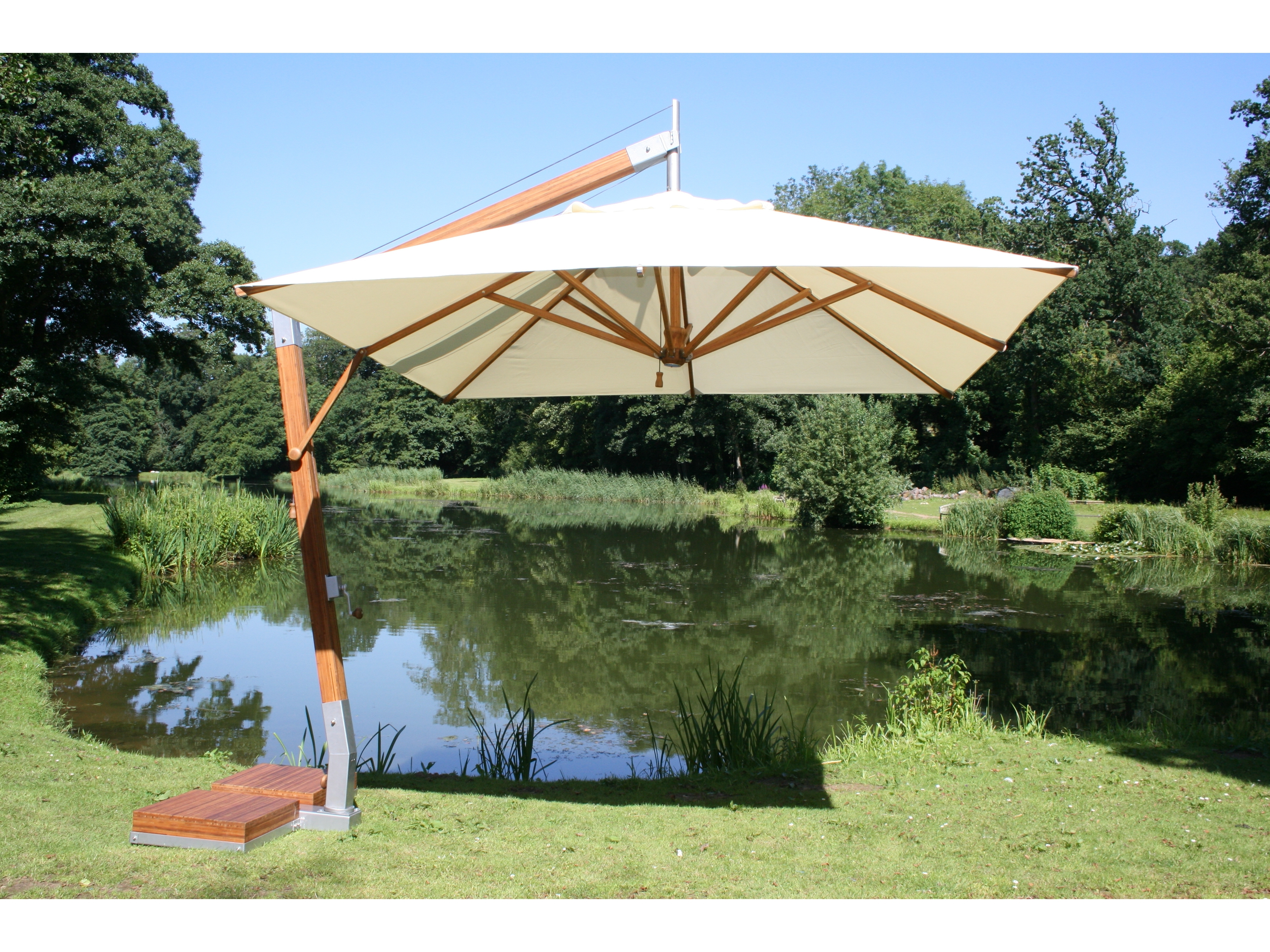 Rectangular White Fabric Offset Patio Umbrella With Wood And Metal In Preferred Offset Rectangular Patio Umbrellas (View 10 of 20)