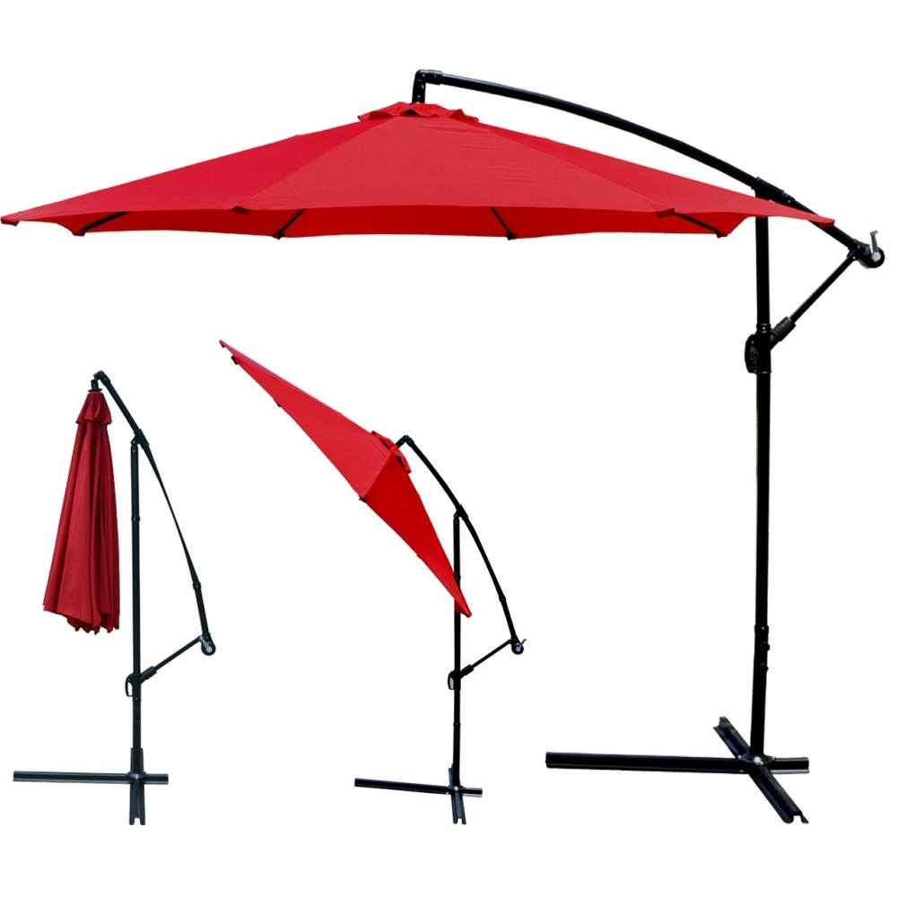 Red Patio Umbrella Offset 10' Hanging Umbrella Outdoor Market Pertaining To Latest Hanging Patio Umbrellas (View 6 of 20)