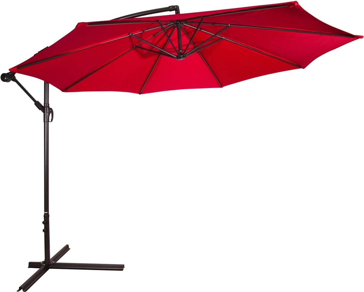 Red Patio Umbrellas With Best And Newest 10' Deluxe Polyester Red Offset Patio Umbrellatrademark Innovations (View 16 of 20)