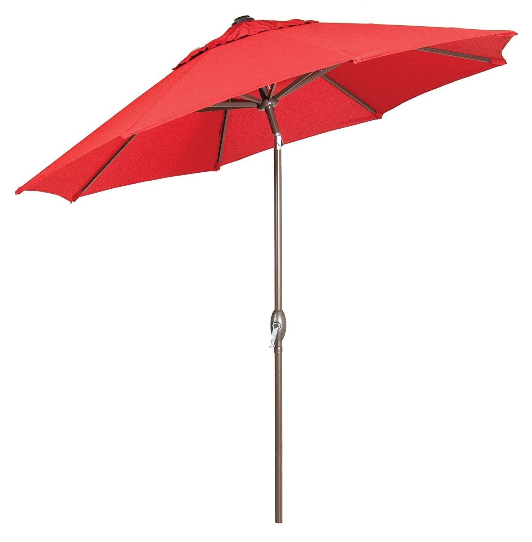 Red Sunbrella Patio Umbrellas With Most Current Premium Market Outdoor Patio Umbrella  Bright Red (Crank & Tilt (View 16 of 20)