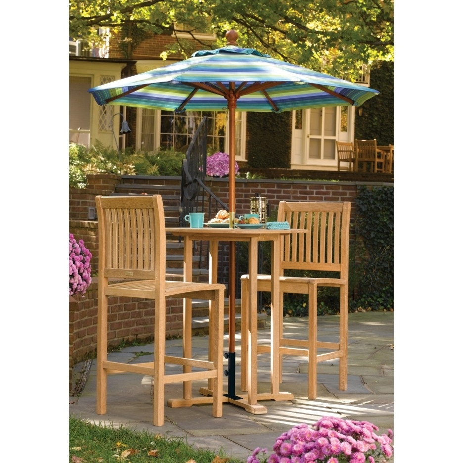Romantic Maple Wood Dining Chair And Table Decor With Colorful Throughout Well Known Patio Umbrellas For Bar Height Tables (View 9 of 20)