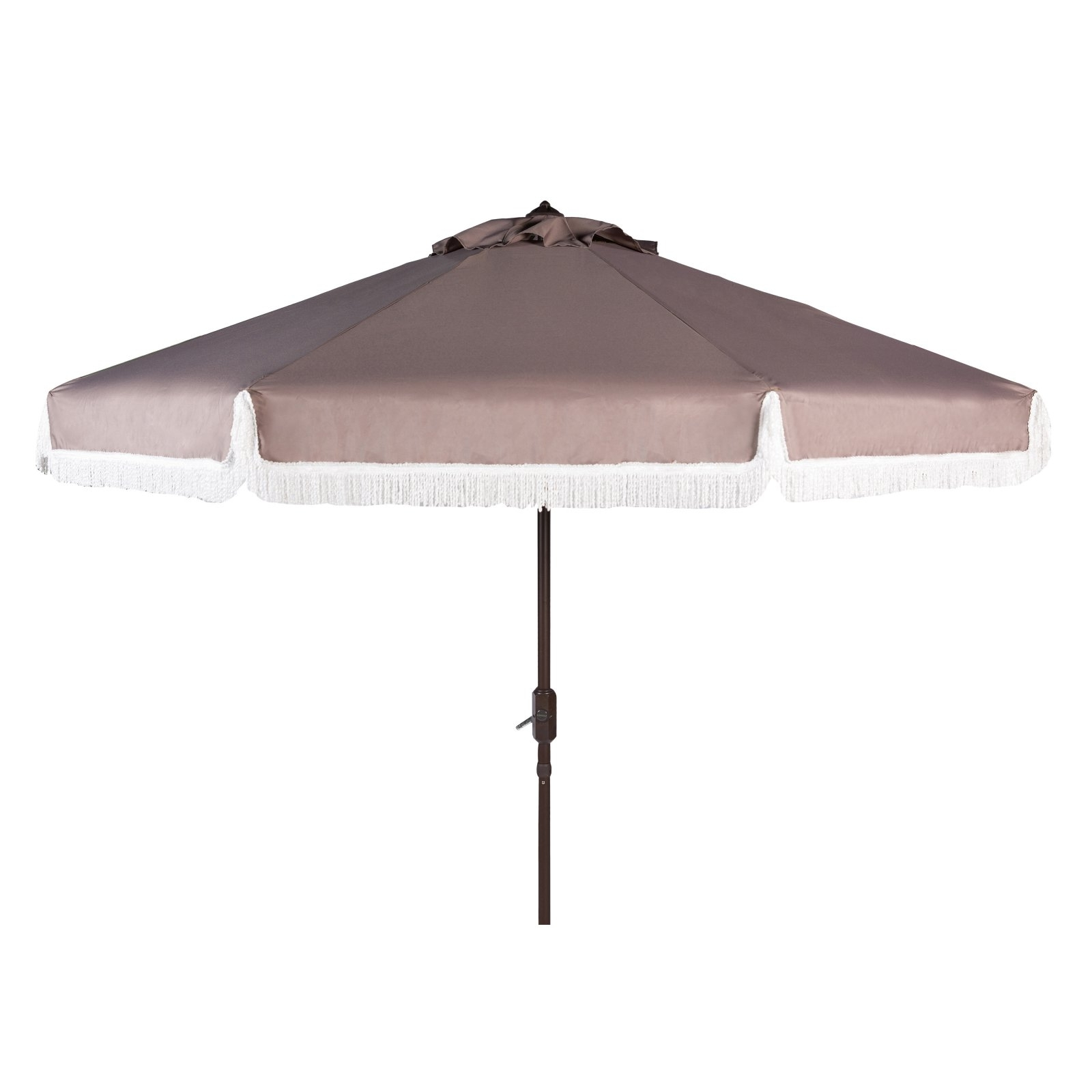 Safavieh Milan Fringe 9' Crank Outdoor Umbrella, Multiple Colors In Most Recently Released Vinyl Patio Umbrellas With Fringe (View 12 of 20)