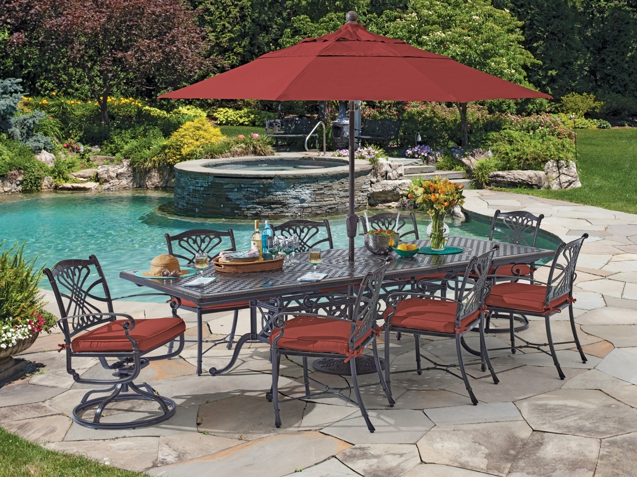 Sams Club Patio Umbrellas Within Famous Round Patio Dining Sets With Umbrella Home Depot Sams Club Furniture (View 17 of 20)