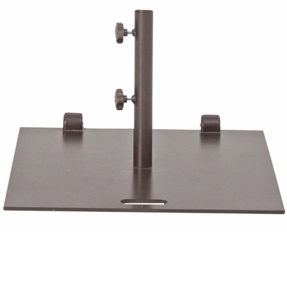 """Shop Abba Patio Brown Steel 24"""" Square Umbrella Base Stand With Throughout Well Known Patio Umbrella Stands With Wheels (View 16 of 20)"""