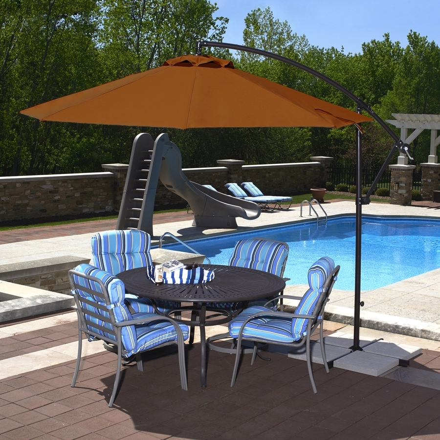 Shop Blue Wave Santiago Terra Cotta Offset 10 Ft Patio Umbrella With For Well Known Offset Patio Umbrellas With Base (View 17 of 20)