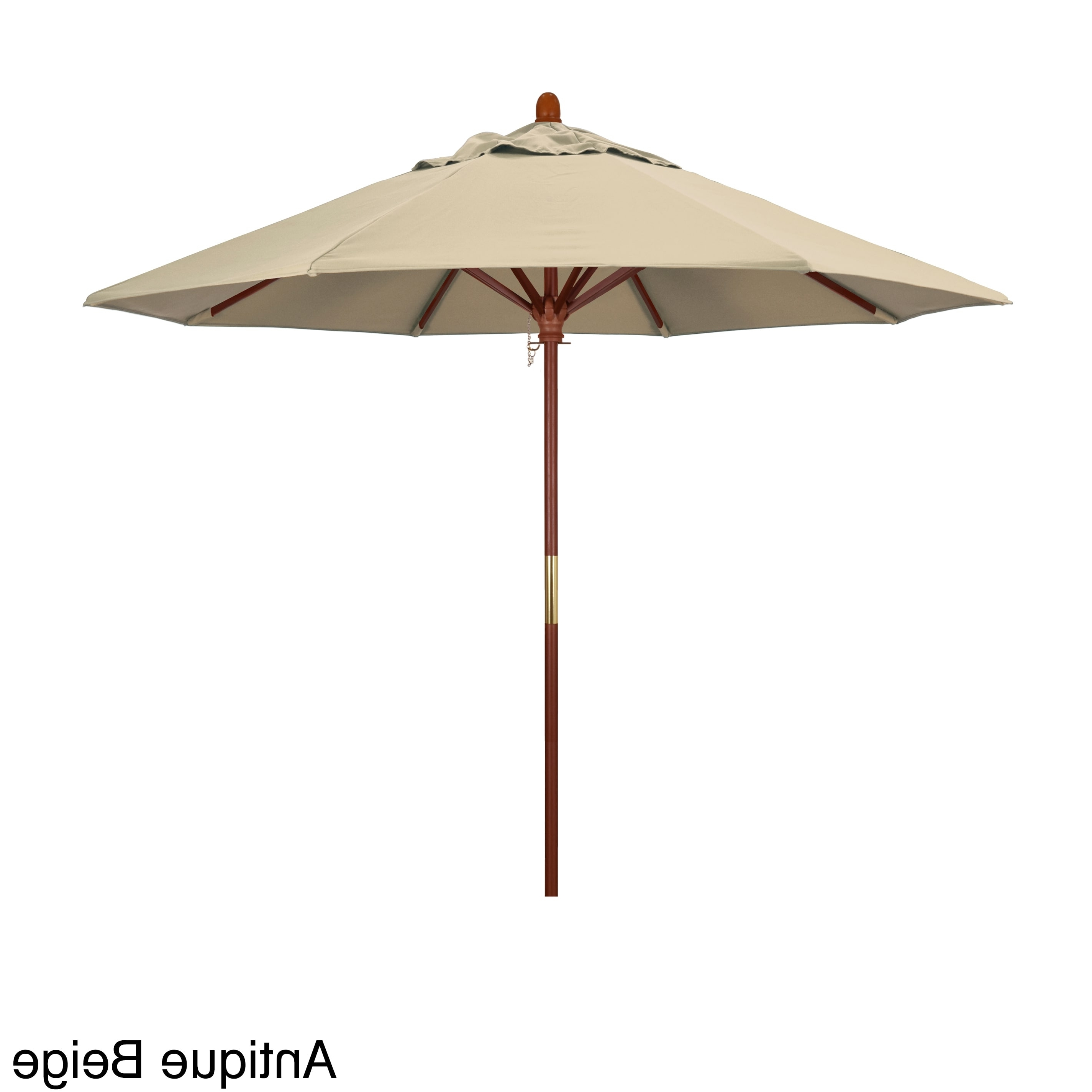 Shop California Umbrella 9 Foot Marenti Wood Market Umbrella With With Regard To Well Liked Patio Umbrellas With Sunbrella Fabric (View 13 of 20)