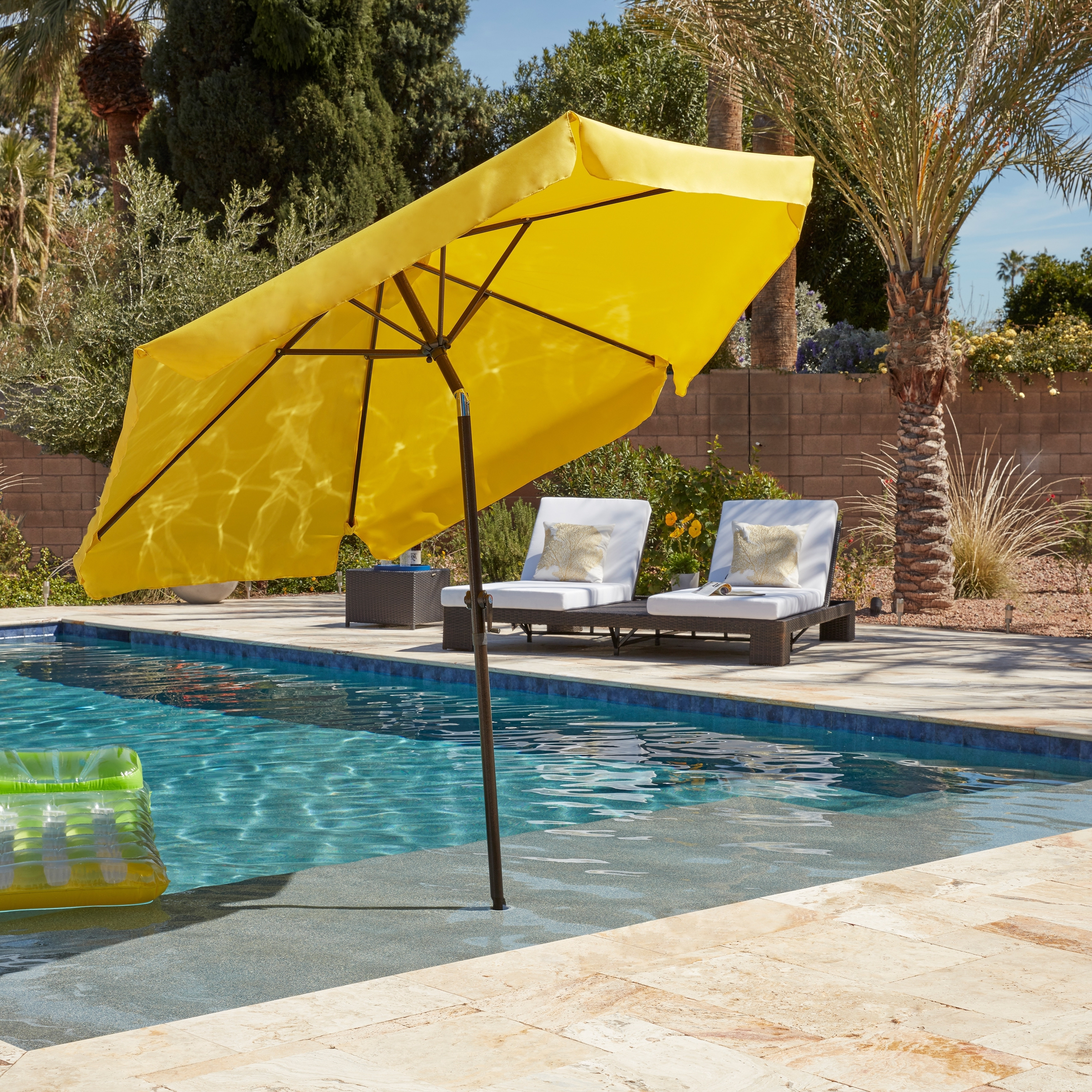 Shop International Caravan St. Kitts 8 Ft. Patio Umbrella – On Sale With Regard To Latest Yellow Sunbrella Patio Umbrellas (Gallery 16 of 20)