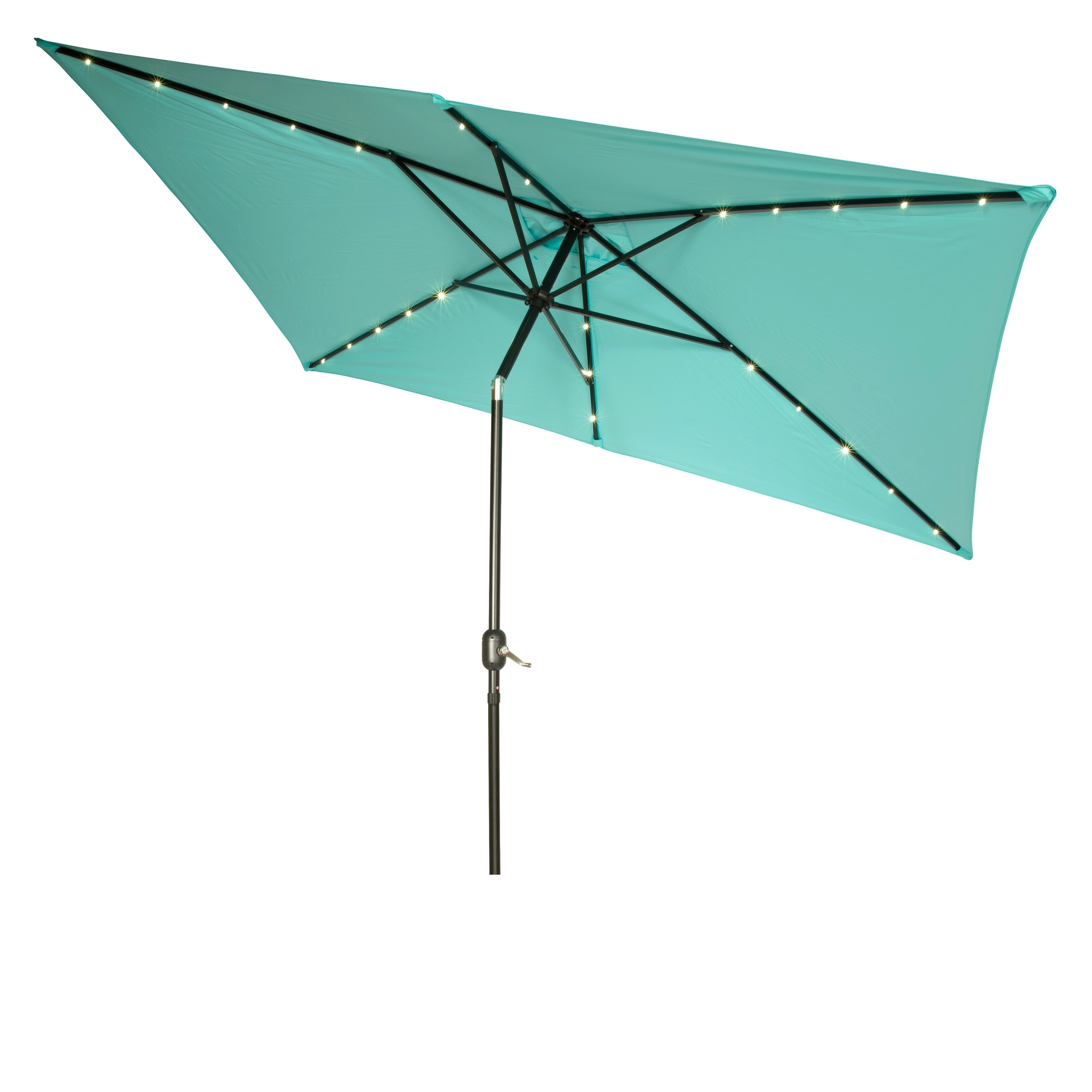 Shop Rectangular Solar Powered Led Lighted Patio Umbrella – 10' X With Regard To Widely Used Lighted Patio Umbrellas (View 14 of 20)