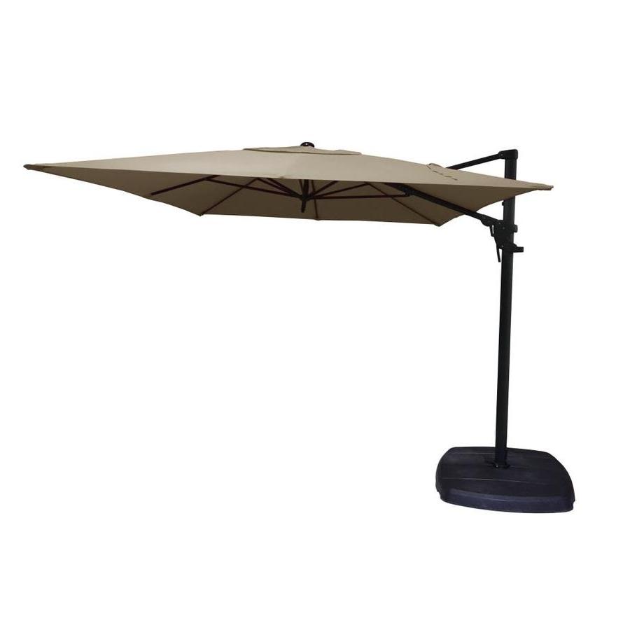 Shop Simply Shade Tan Offset 11 Ft Patio Umbrella With Base At Lowes Throughout Most Recent Patio Umbrellas With Fans (View 17 of 20)