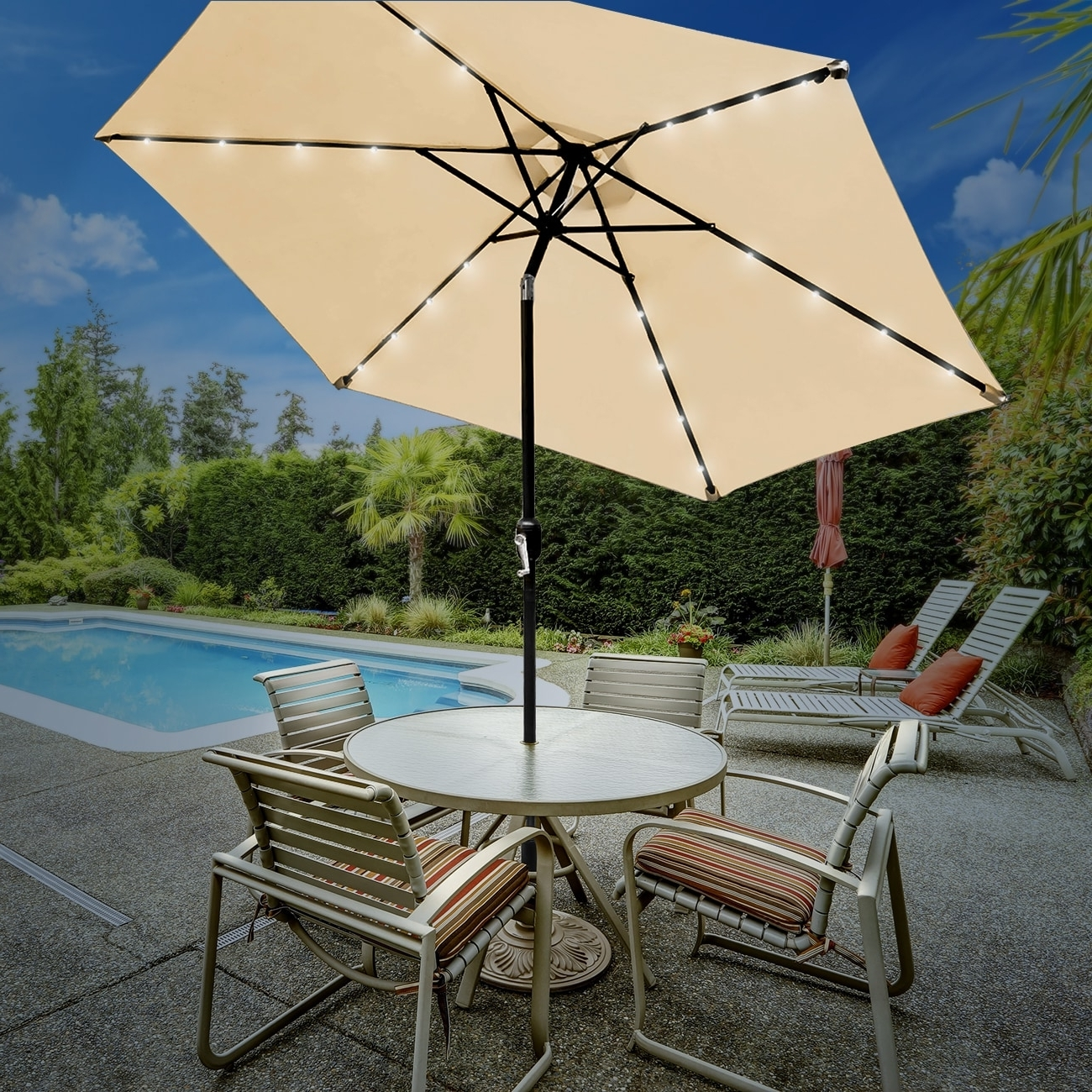 Shop Sorbus® Solar Led Outdoor Umbrella, 10 Ft Patio Umbrella With In Well Liked Gold Coast Patio Umbrellas (View 16 of 20)