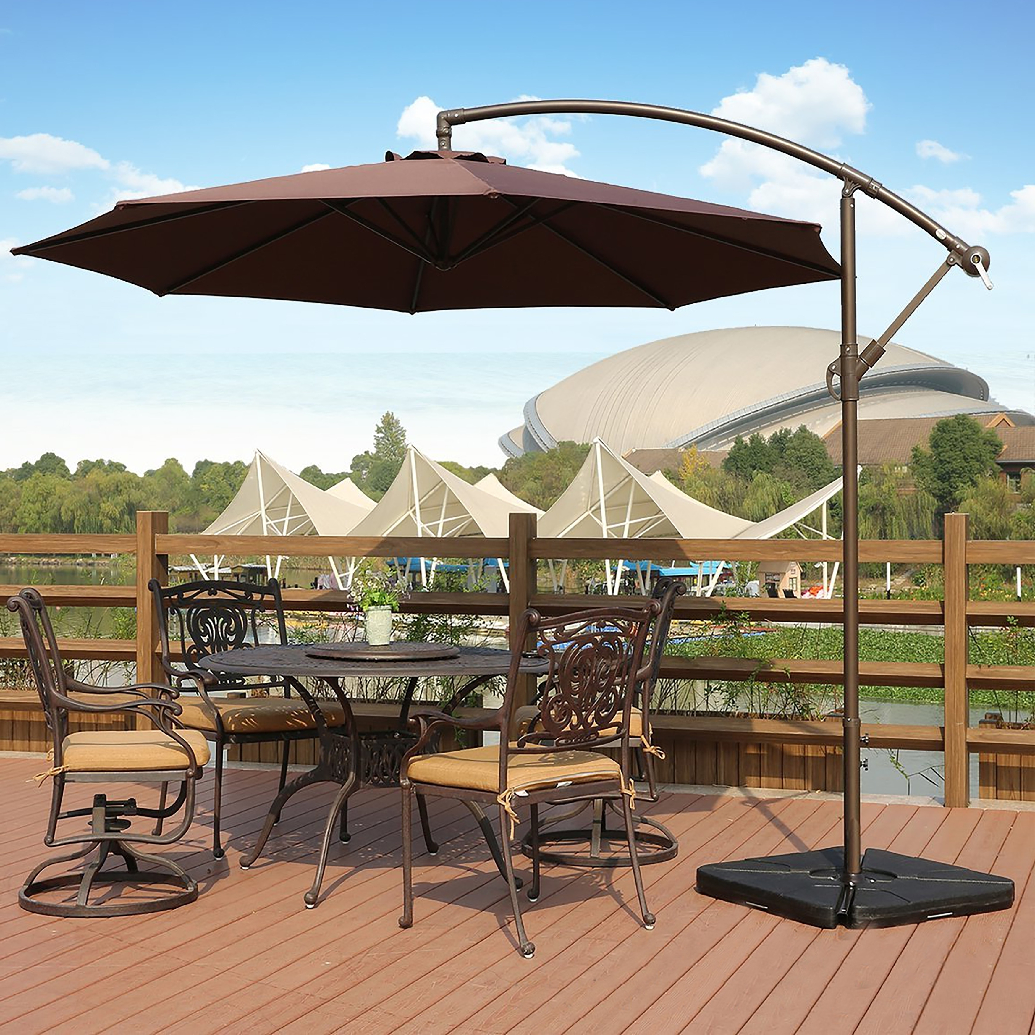 Shop Weller 10 Ft Offset Cantilever Hanging Patio Umbrellawestin Intended For 2019 Patio Umbrellas With Fans (View 18 of 20)