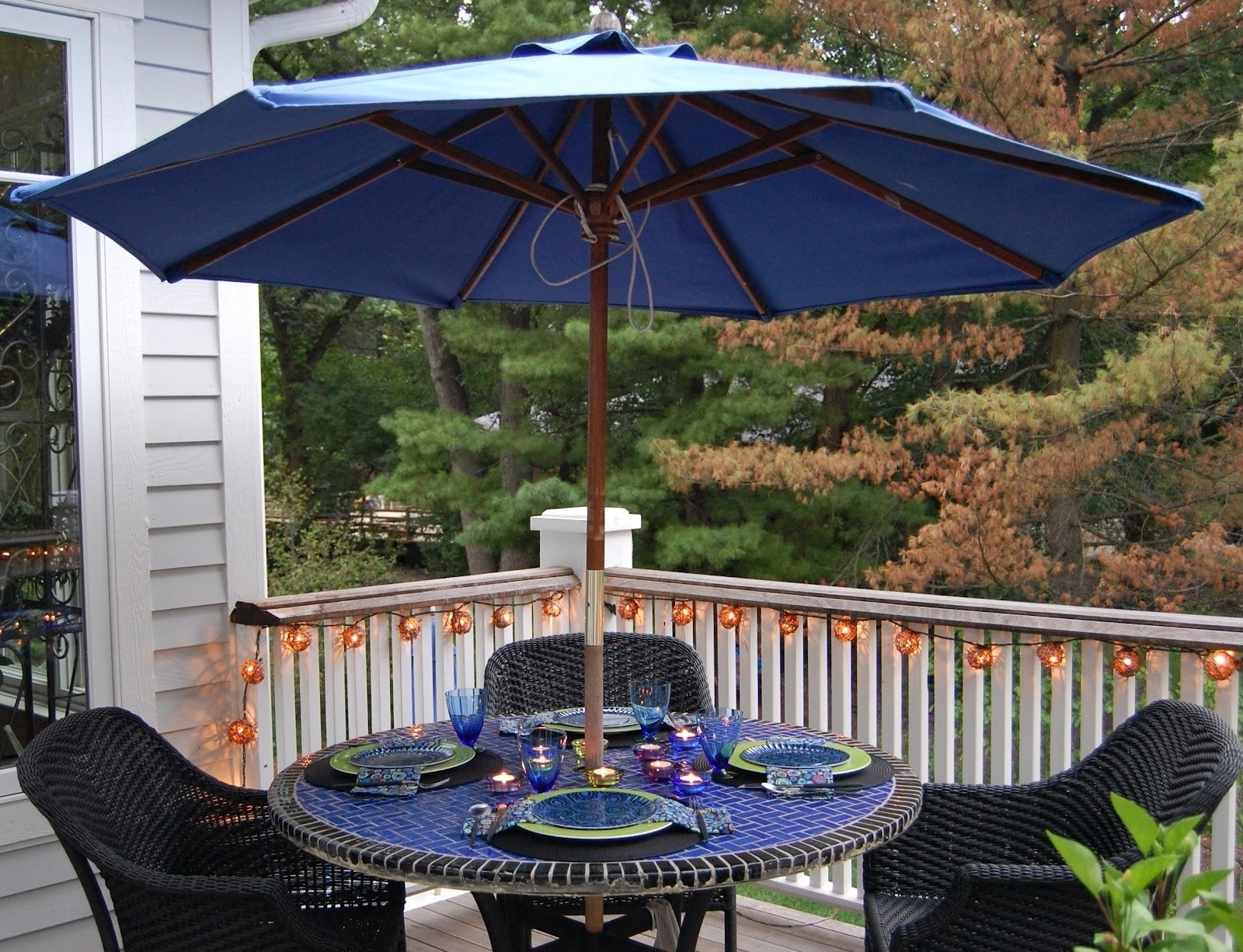Small Patio Table With Chairs Balcony And Large Umbrella Hole Tables With Regard To Current Small Patio Tables With Umbrellas Hole (View 14 of 20)