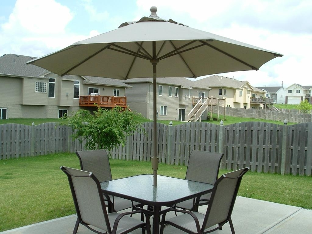 Small Patio Tables With Umbrellas Hole Inside Well Liked Patio: Astonishing Small Patio Set With Umbrella Umbrellas For Small (View 17 of 20)