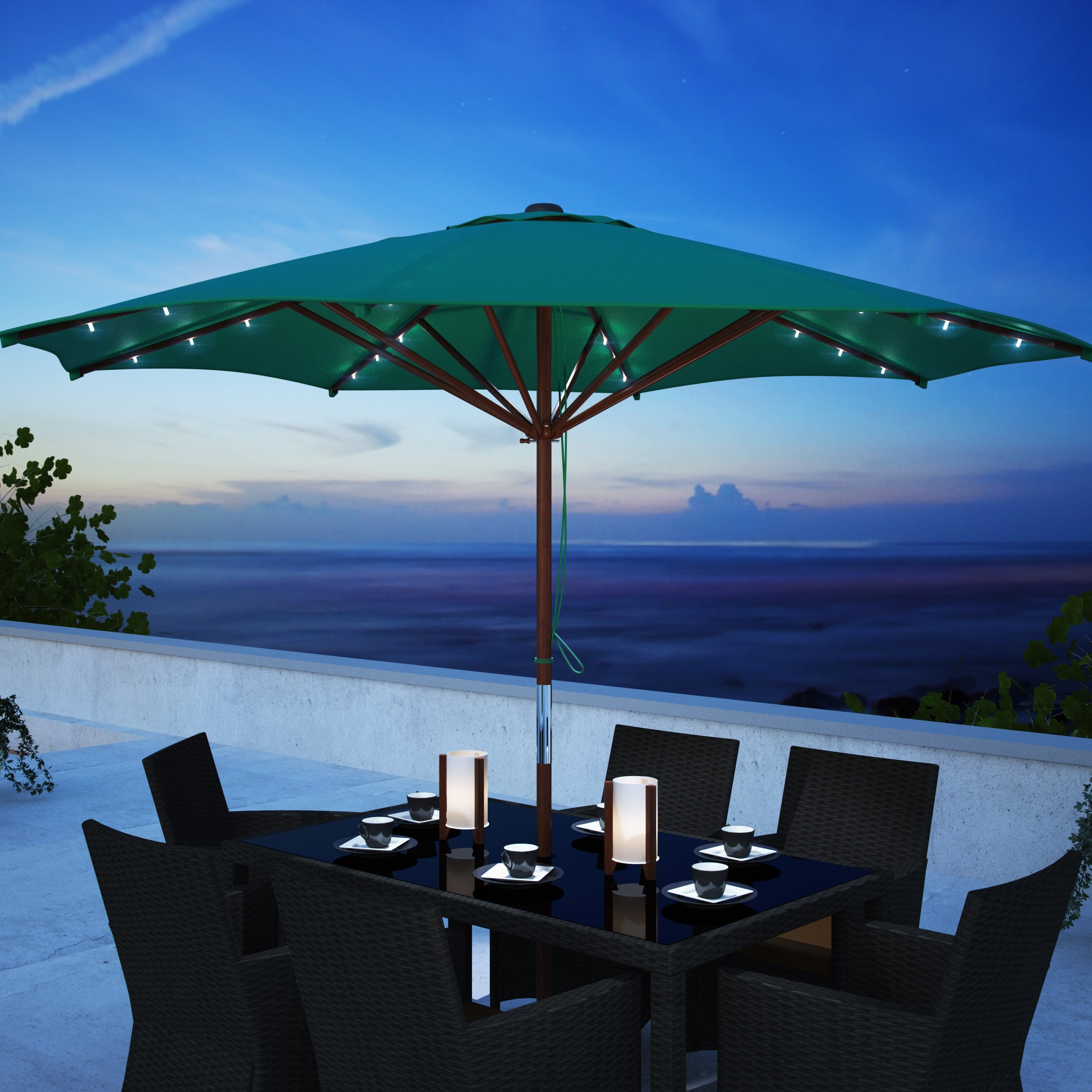 Solar Powered Patio Umbrellas In Well Known Corliving Patio Umbrella With Solar Power Led Lights Taupe (View 13 of 20)