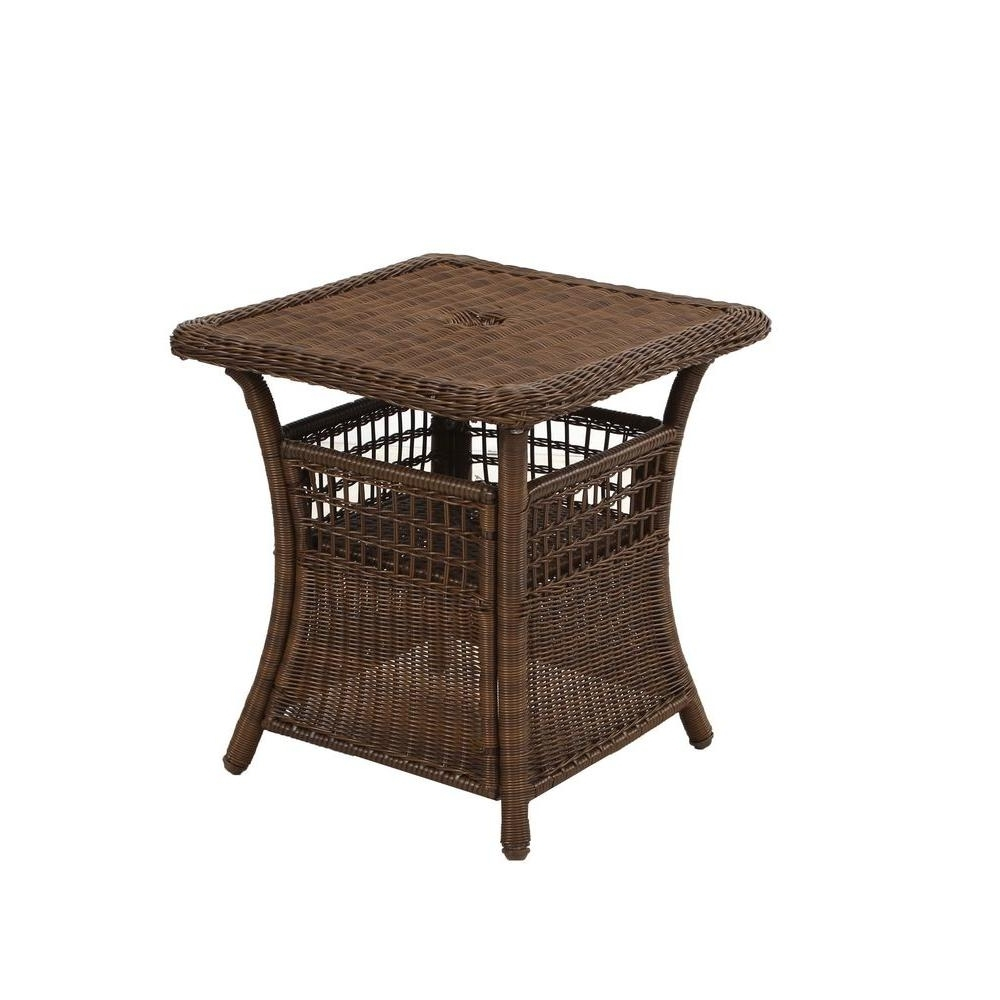 Spring Haven Brown All Weather Wicker Patio Umbrella Side Table In Well Known Patio Umbrellas With Accent Table (View 18 of 20)