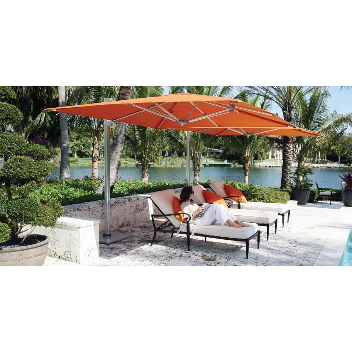 Square Cantilever Patio Umbrellas Throughout Newest Ocean Master Max Single Cantilever 12 Ft. Square Umbrella, Cl (View 20 of 20)