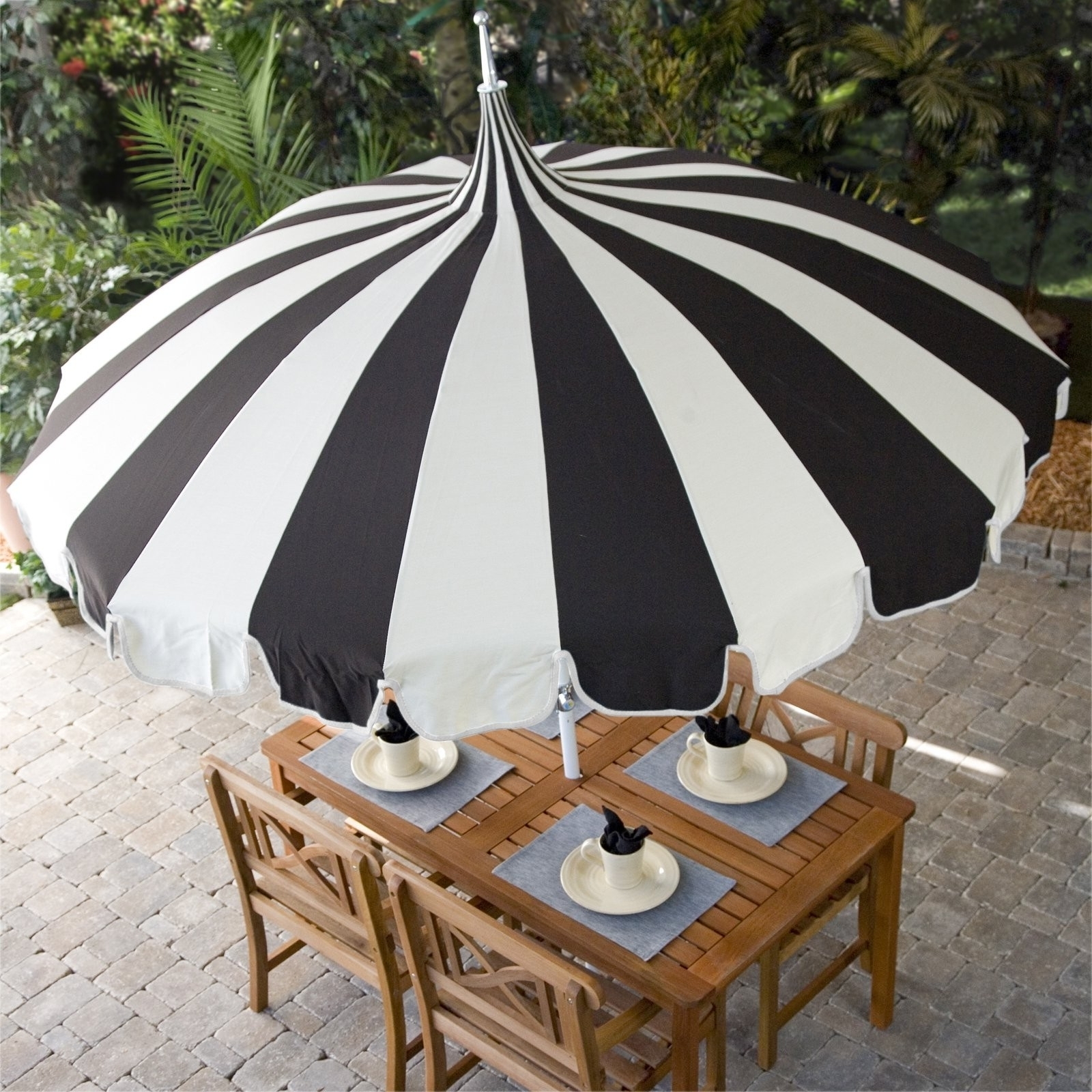 Striped Sunbrella Patio Umbrellas For Most Recently Released Pagoda Umbrella Sea Green Designs Llc Of Striped Patio Umbrella (View 12 of 20)