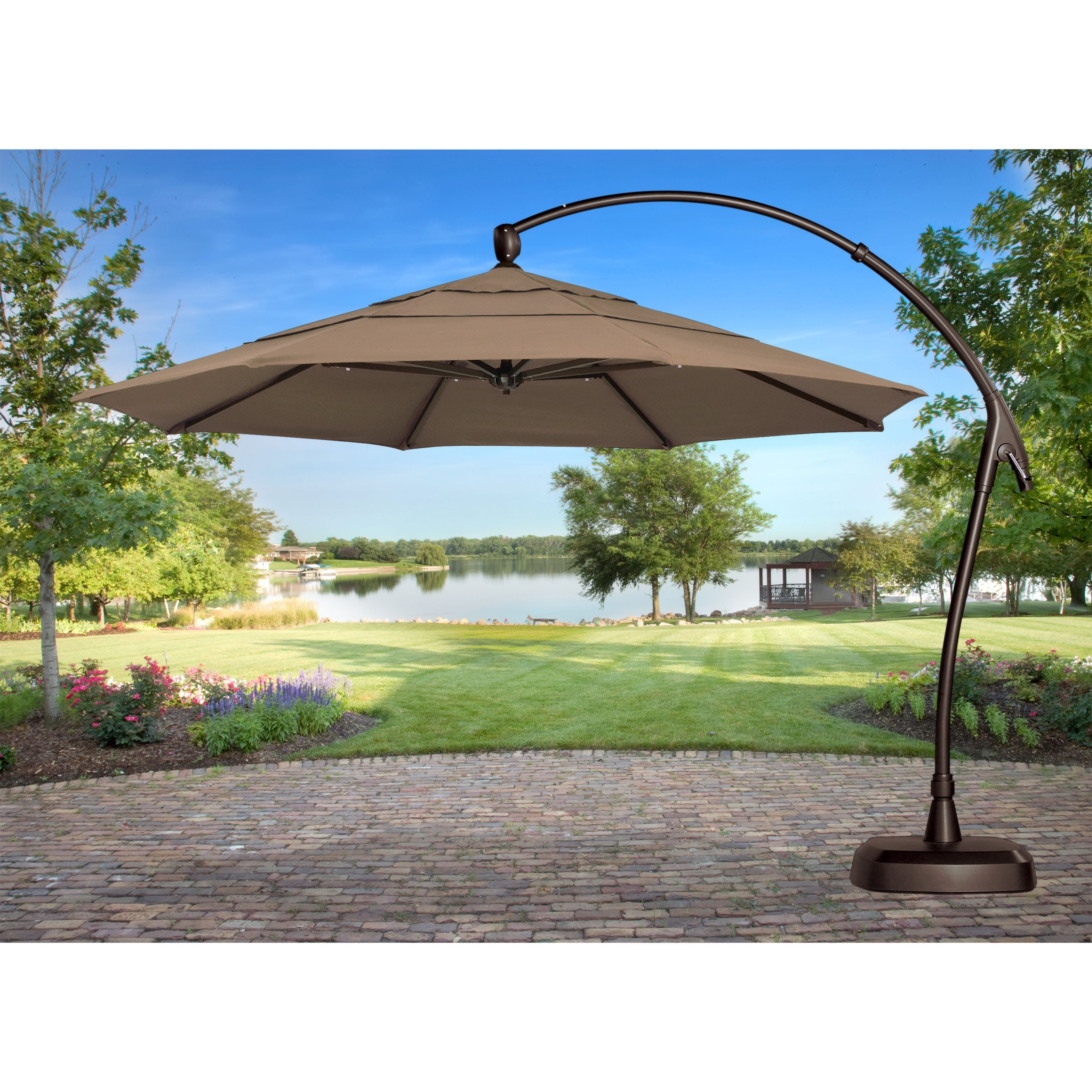 Stylish And Convenient Cantilever Patio Umbrella – Carehomedecor Inside Preferred Patio Umbrellas With Fans (View 6 of 20)