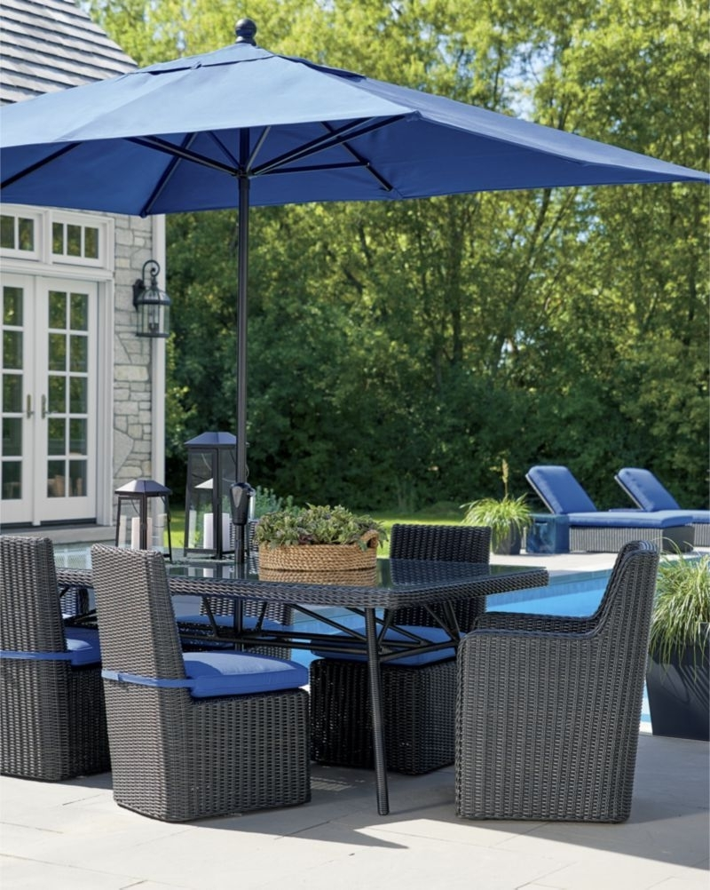 Sunbrella Black Patio Umbrellas Inside Famous Rectangular Sunbrella ® Mediterranean Blue Patio Umbrella With Black (View 12 of 20)