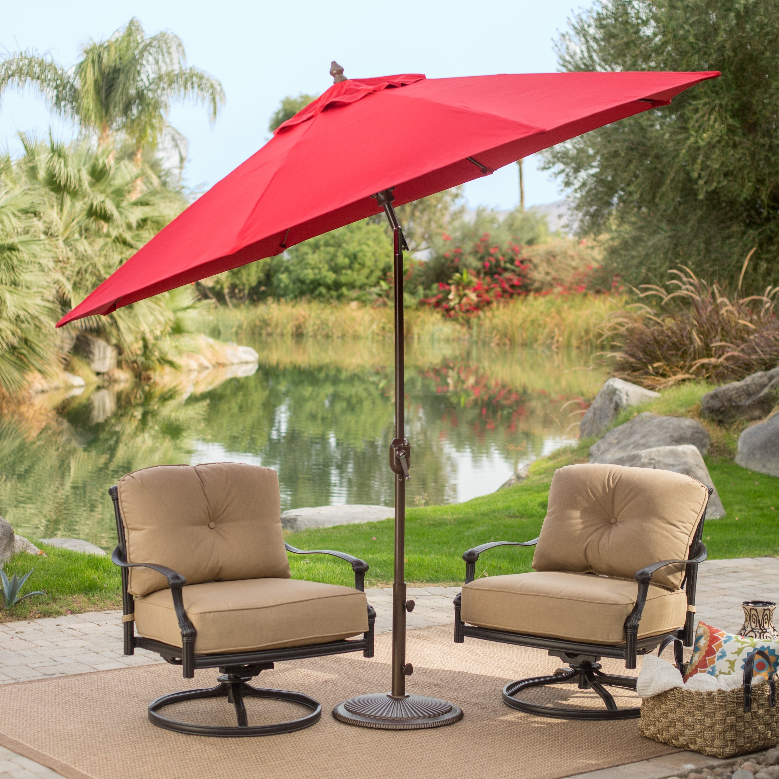 Sunbrella Black Patio Umbrellas Pertaining To Popular Coral Coast 9 Ft (View 14 of 20)
