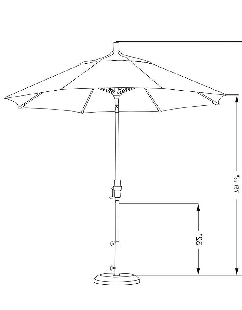 Sunbrella Black Patio Umbrellas Regarding Best And Newest California Umbrella 9' Sun Master Series Patio Umbrella With Matted (View 15 of 20)