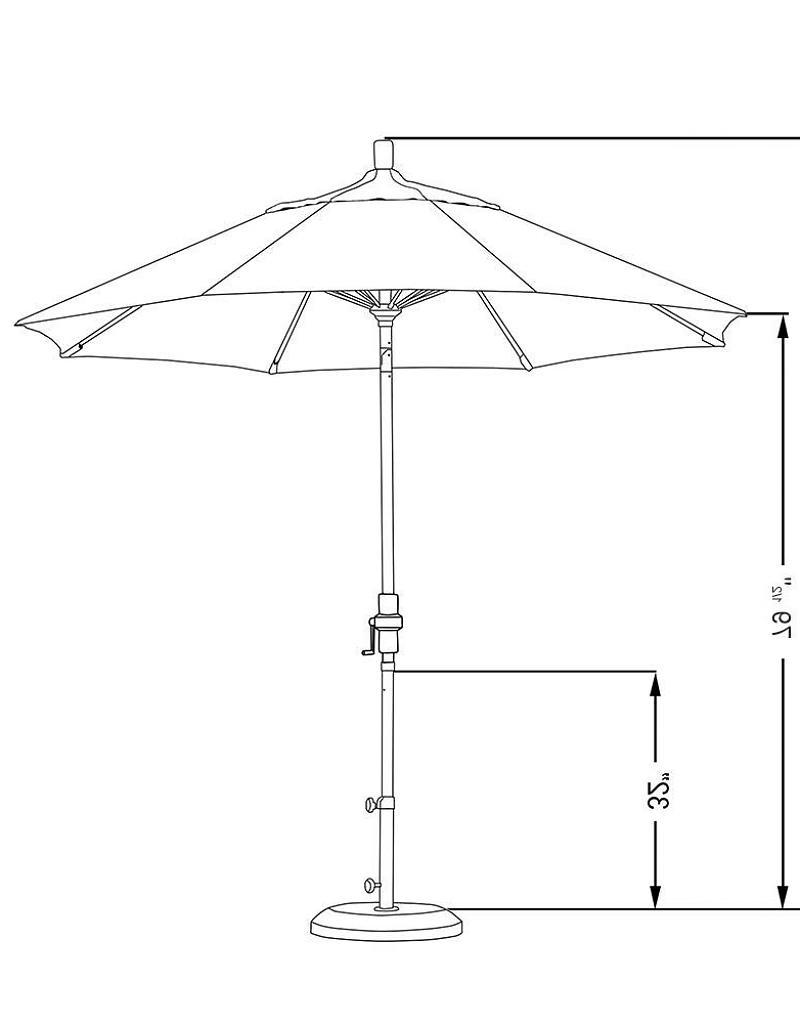 Sunbrella Black Patio Umbrellas Regarding Best And Newest California Umbrella 9' Sun Master Series Patio Umbrella With Matted (View 15 of 20)