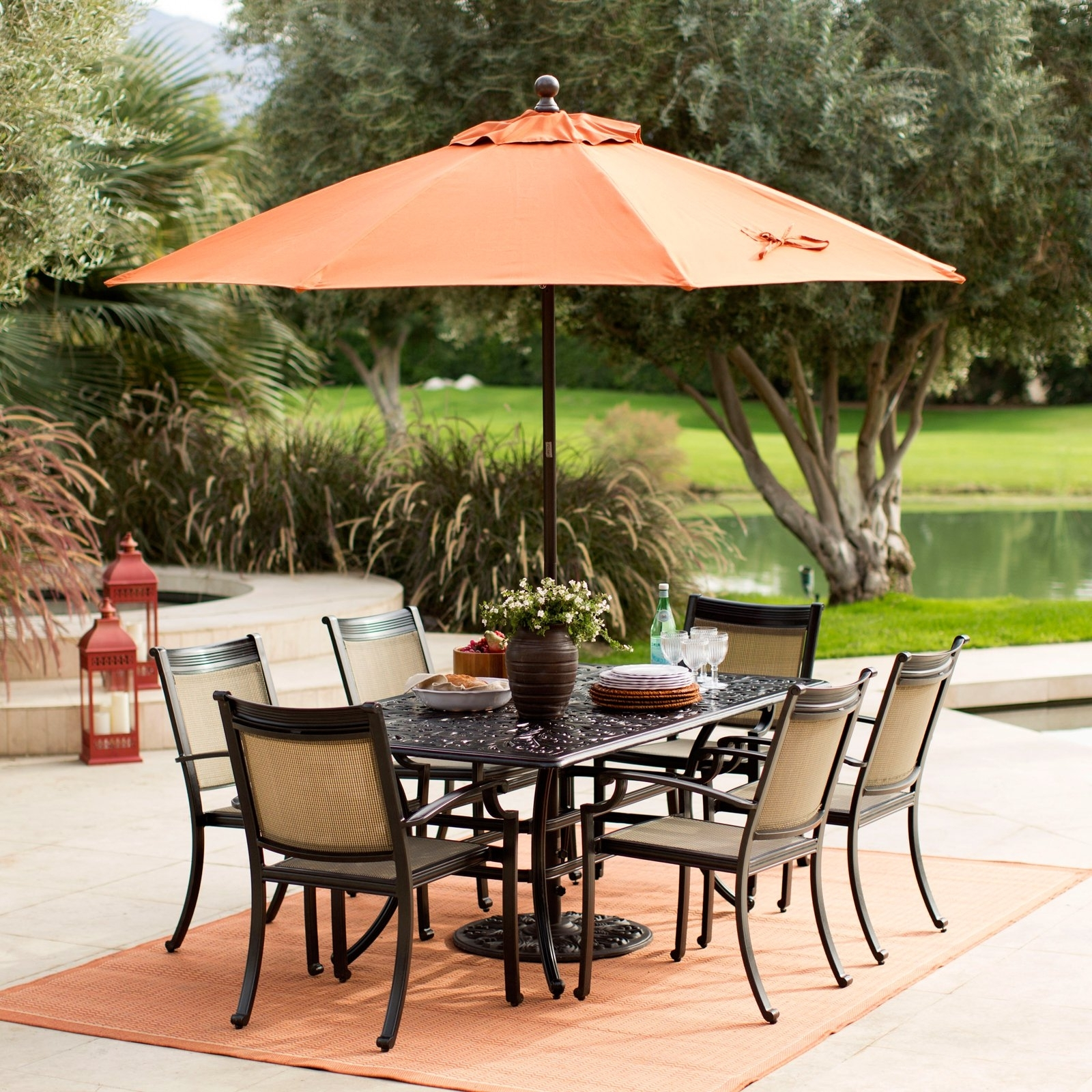 Sunbrella Black Patio Umbrellas With Regard To Well Known Coral Coast 9 Ft (View 16 of 20)