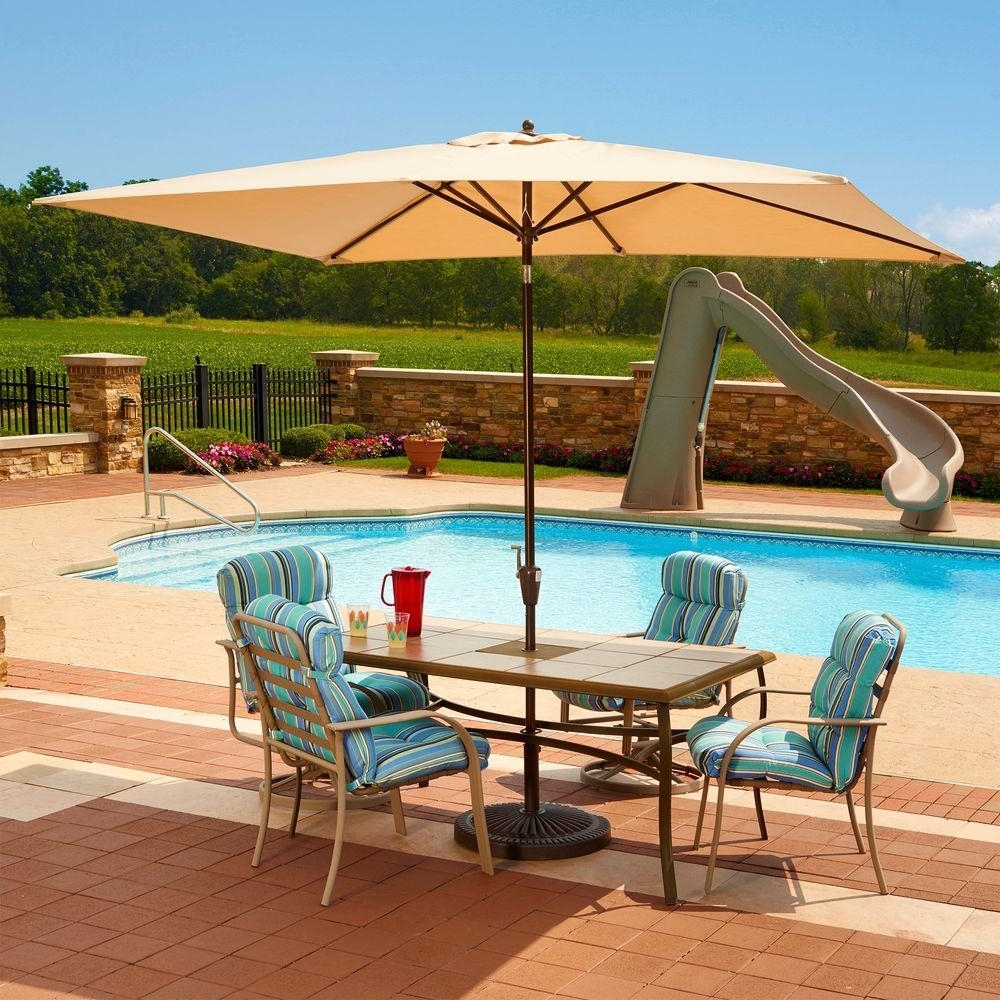 Sunbrella Fabric – Market Umbrellas – Patio Umbrellas – The Home Depot Intended For Well Known Striped Sunbrella Patio Umbrellas (View 10 of 20)