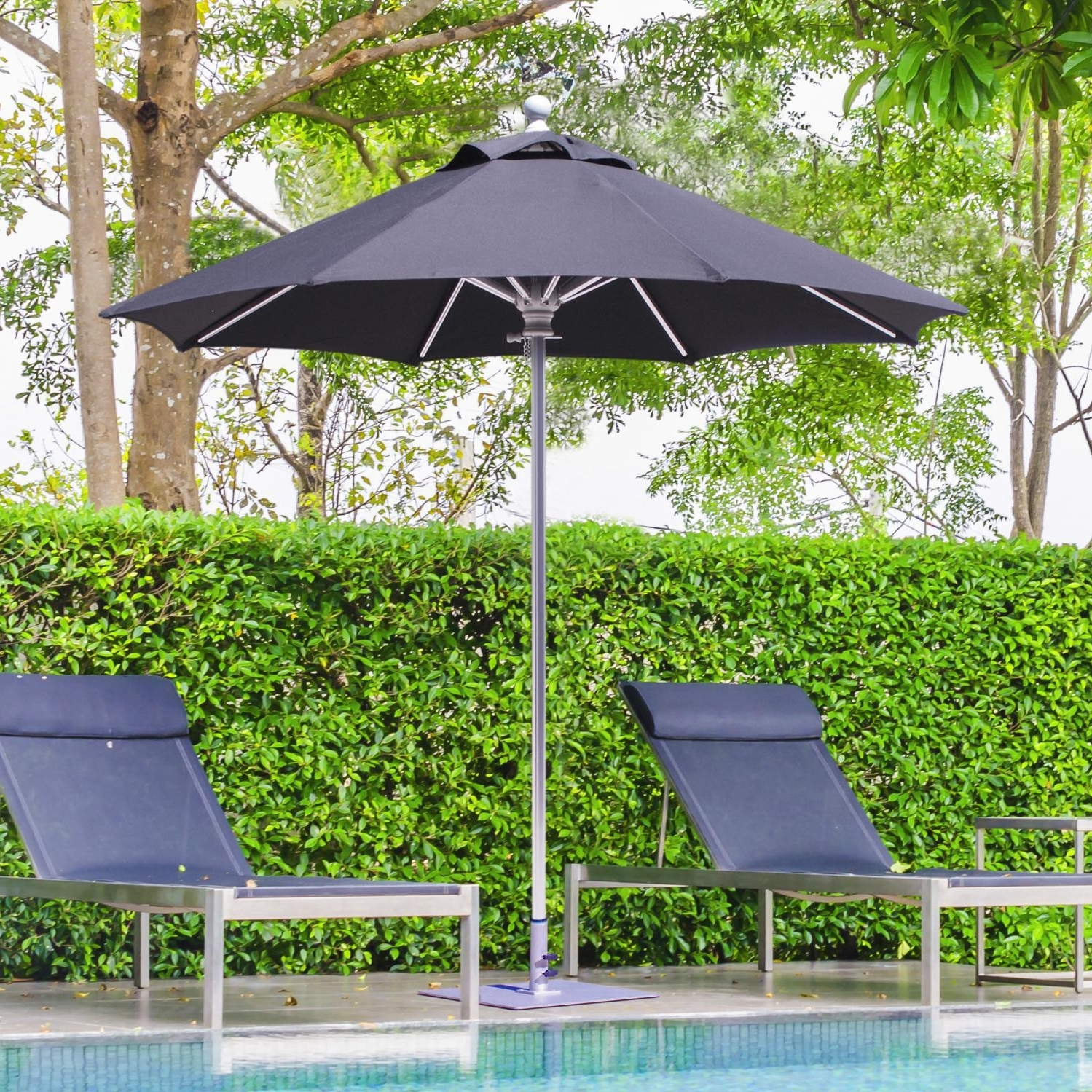 Sunbrella Outdoor Patio Umbrellas With Well Known Galtech Sr Series 7 1/2 Ft Aluminum Patio Umbrella With Manual Lift (View 16 of 20)