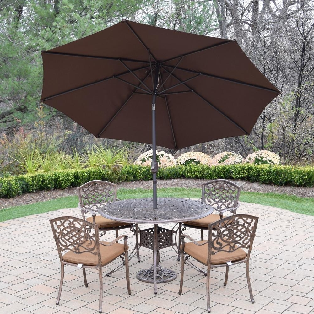 Sunbrella Patio Table Umbrellas Regarding Most Recently Released 7 Piece Aluminum Outdoor Dining Set With Sunbrella Brown Cushions (View 14 of 20)
