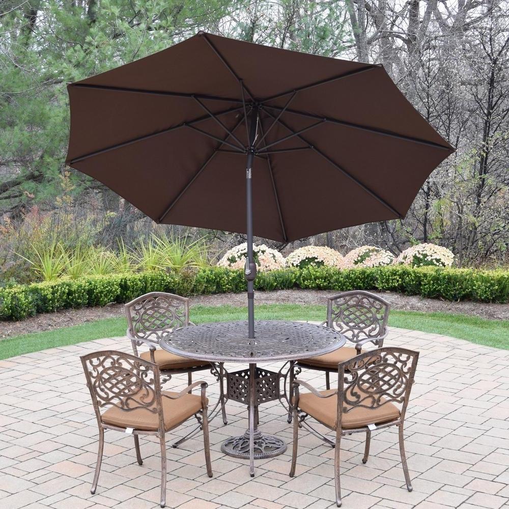 Sunbrella Patio Table Umbrellas Regarding Most Recently Released 7 Piece Aluminum Outdoor Dining Set With Sunbrella Brown Cushions (View 15 of 20)