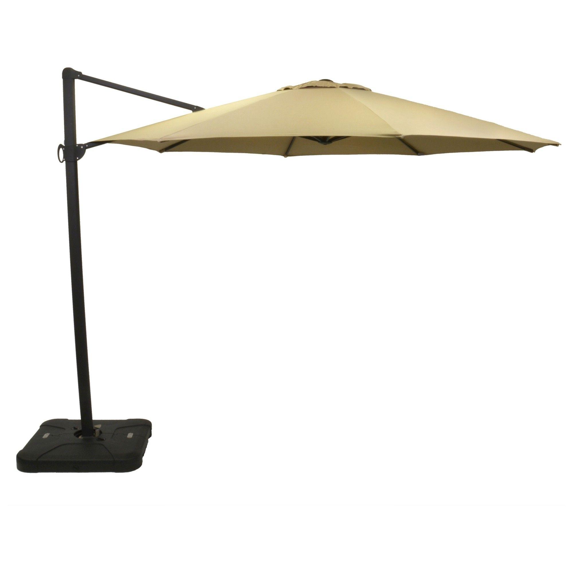 Sunbrella Patio Umbrella With Lights Regarding 2019 11' Offset Sunbrella Umbrella – Canvas Heather Beige – Black Pole (View 16 of 20)