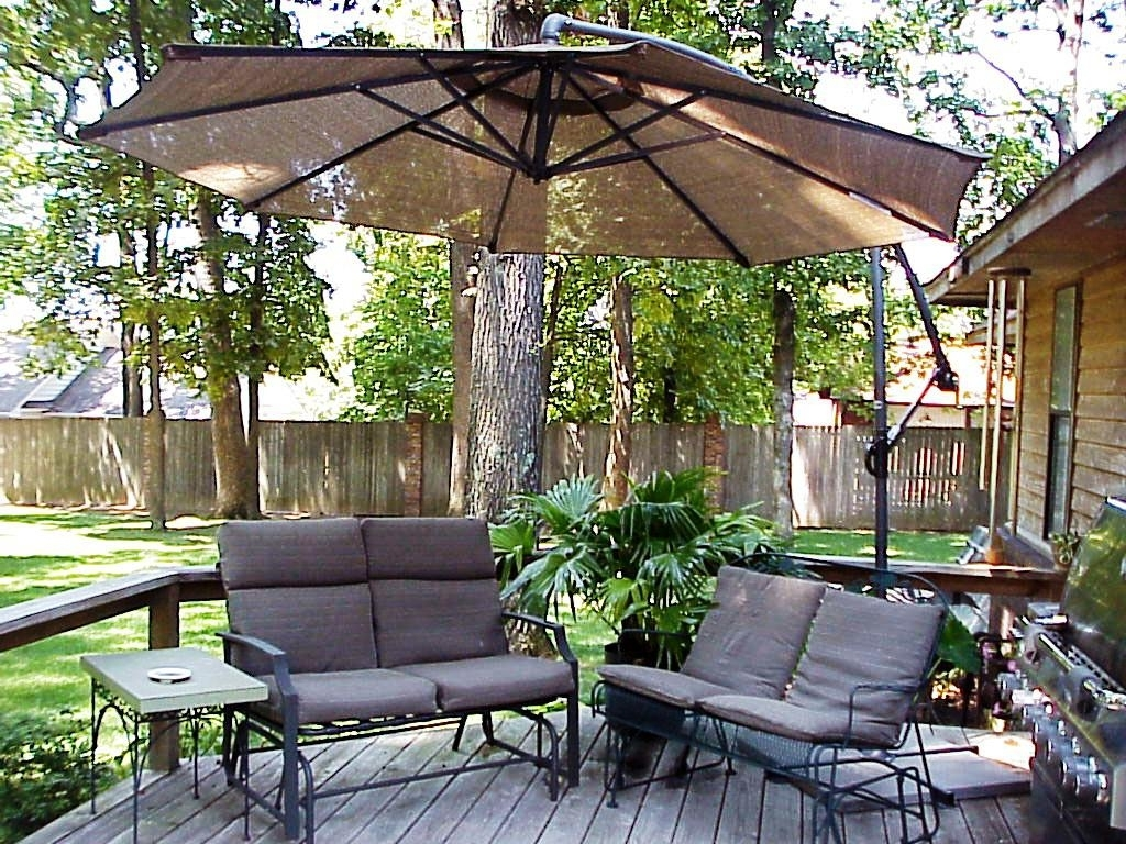 Sunbrella Patio Umbrellas At Costco With Well Liked Furniture: Costco Cantilever Umbrella For Most Dramatic Shade (View 17 of 20)