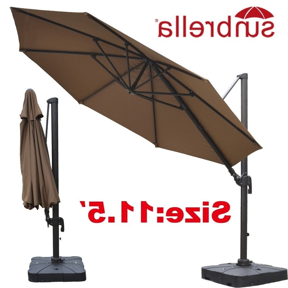 Sunbrella Patio Umbrellas In Best And Newest Trendy Beige Sunbrella Acrylic Island Umbrella Santorini Ii Square (View 18 of 20)