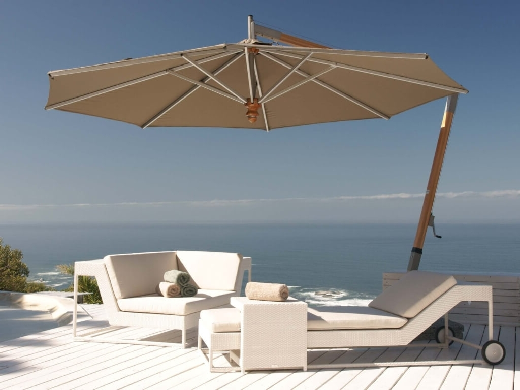 Sunbrella Patio Umbrellas Intended For Most Up To Date Outdoor & Garden: Vanilla Cantilever Patio Umbrella Sunbrella With (View 14 of 20)