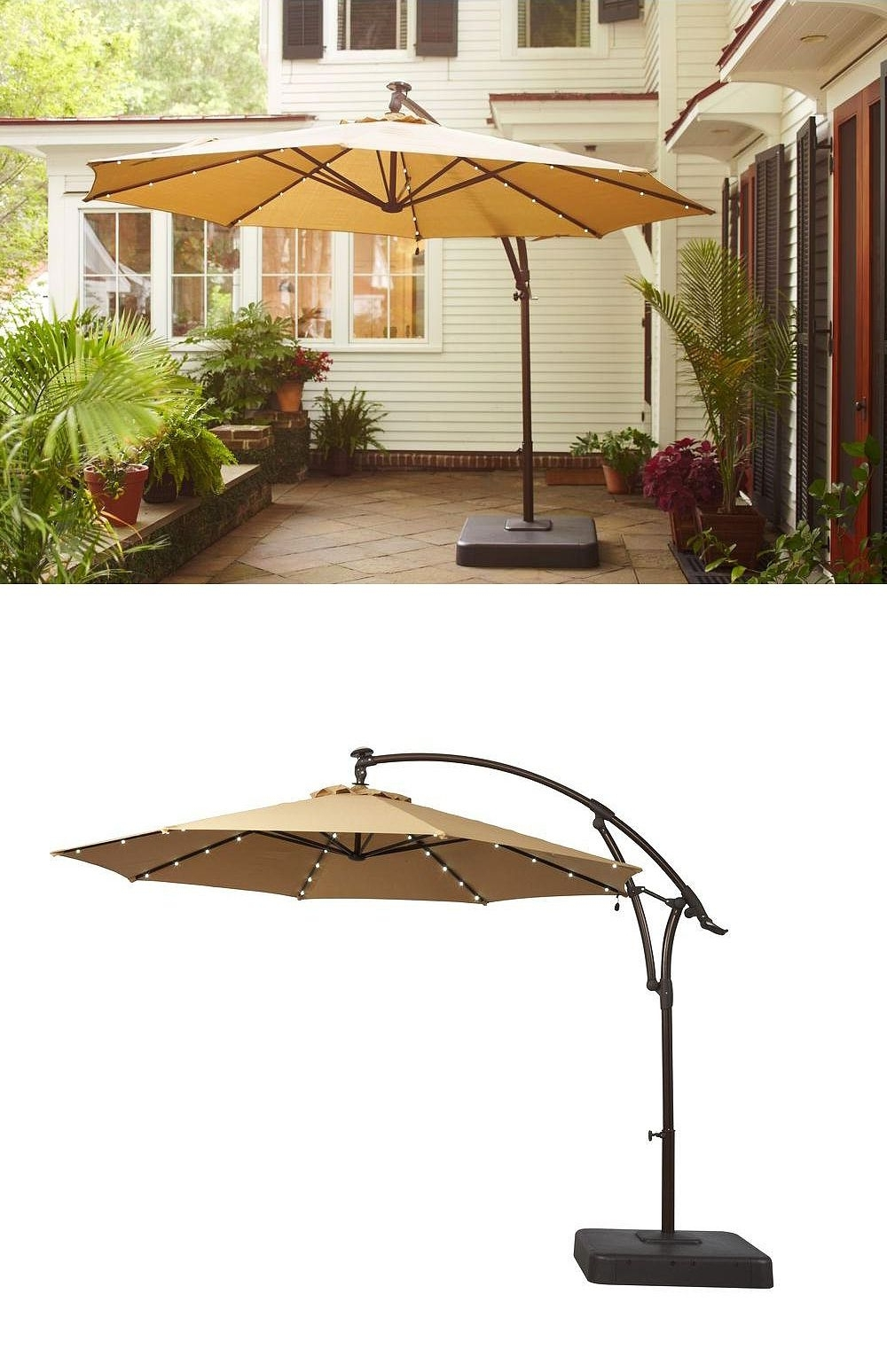 Sunbrella Patio Umbrellas With Solar Lights Regarding Newest There's Something Special About This Patio Umbrella: It Has Small (View 14 of 20)