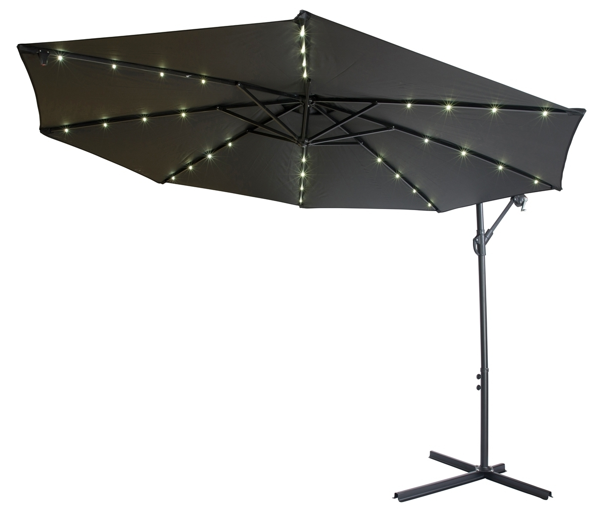 Sunbrella Patio Umbrellas With Solar Lights Within Favorite Black Patio Umbrella With Solar Lights 10 Deluxe Polyester Fset (View 17 of 20)